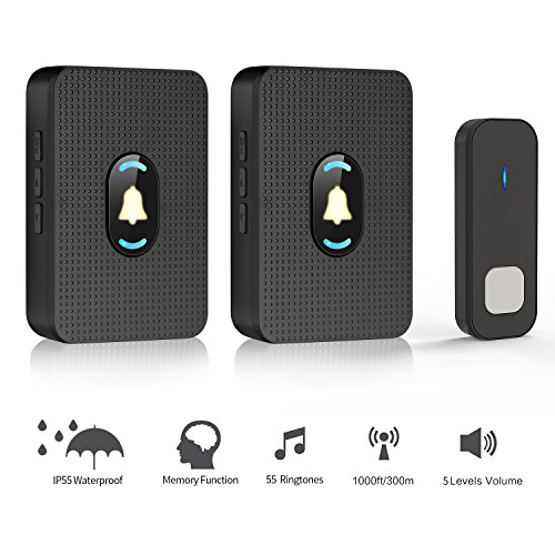 Night Light Doorbells (JAVONTEC Wireless Doorbell Chime with LED Night Light,Waterproof IP55,1000ft Long Range with 55 Ringtones and 5 Volume Levels,2 Plug-in Receivers&1 Remote Button(Black))
