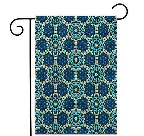 """Awowee 28""""x40"""" Garden Flag Blue Hexagon Continuous Pattern of Beadwork Ball Bead Beaded Outdoor Home Decor Double Sided Yard Flags Banner for Patio Lawn"""