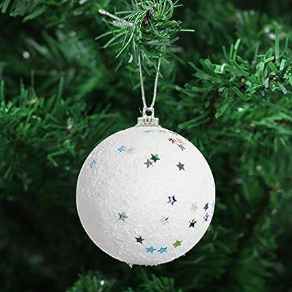 Robelli Pack 8 Blanco Bola de Nieve Árbol de Navidad Bolas ...