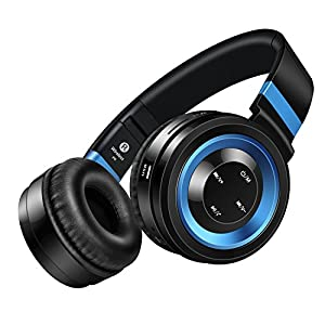 Bluetooth Headphones On Ear, Darkiron P6 Wireless Foldable Adjustable Lightweight Noise Reduction Over Ear Headsets with Microphone Volume Control HD Stereo Sound for Kids Adults BlackBlue