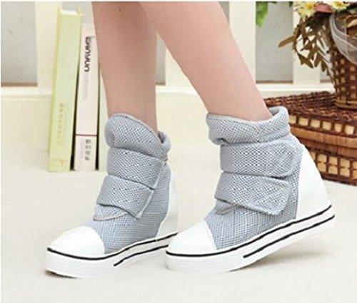 KHSKX-Canvas Shoes Inside High Help Magic Stick Medium Heel Short Boots Single Shoe Thirty-eight GUzgH82mzo