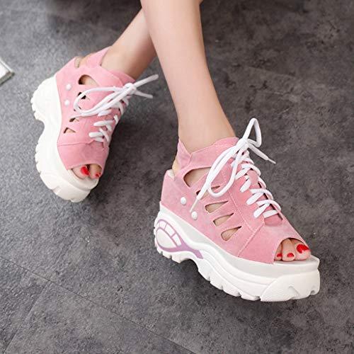 Épaisse Bouche Yesmile Style Ville Femme Chaussures forme Été Dames À Mocassins Poisson De Cales Pink Sandales Plate Mode WaSASqY0w