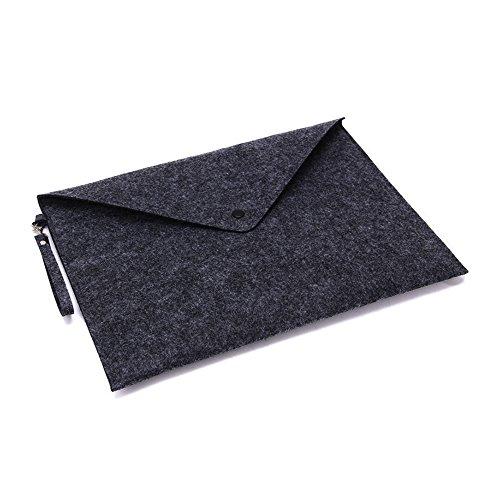 (A4 File Folder Felt Envelope Organizer with Snap Button Handle (Dark Grey))