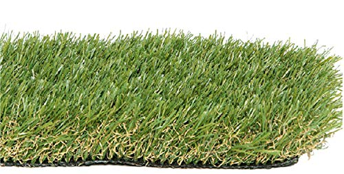 Zen Garden PET Premium Synthetic Grass Rubber Backed with Drainage Holes, Blade ()