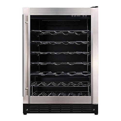 Magic Chef 23.4 in. W 50-Bottle Wine Cooler in Stainless Steel-HMWC50ST
