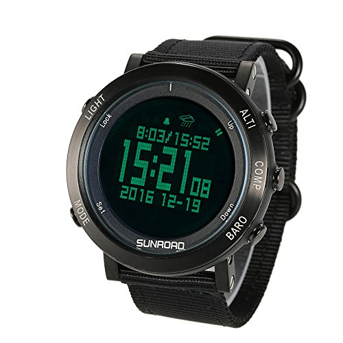 Lixada Outdoor Digital Sports Watch Pedometer Altimeter Barometer Compass Wrist Watch with Nylon Band by Lixada