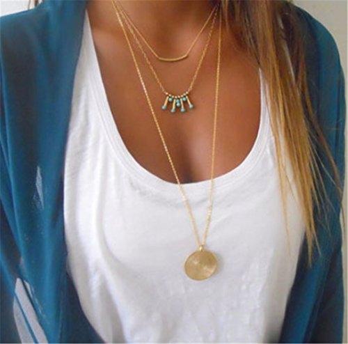 Multi-layered Tube Bright Turquoise Beads Clavicle Chain Necklace Gold