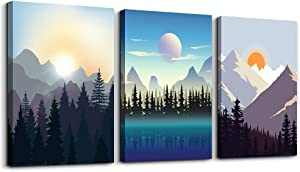 Wall Art for living room Canvas Prints Artwork bathroom Wall Decor Abstract Sunrise and Sunset scenery Picture Watercolor painting 3 Pieces Framed bedroom wall decorations Office Works Home Decor
