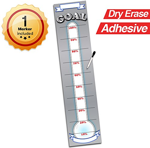 Goal Setting Fundraising Donation Thermometer - 48' x 11' - Dry Erase Reusable Vinyl Decal Sticker - Fundraiser Milestone Company Goals Chart - Office Wall Temperature Stickers Charts (Grey)
