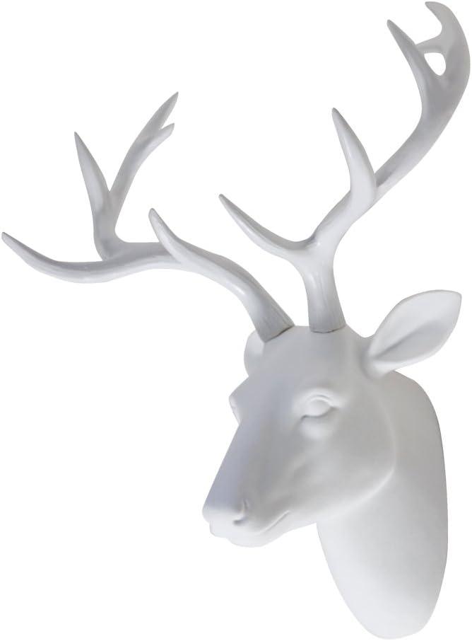 """Deer Head Wall Art Animal Head Art Decor White Fake Furry/Felt/Velvety Resin Deer Head With White Antlers for Home/Bar/Office Size 16"""" x 12"""" x 7.5"""""""
