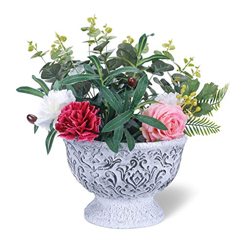 (West Beauty Distressed Cement Garden Planter Pot, Antique Trophy Shape Container with Drain Hole, Decorative Flower and Succulent Vase for Window and Outdoor, Grey)