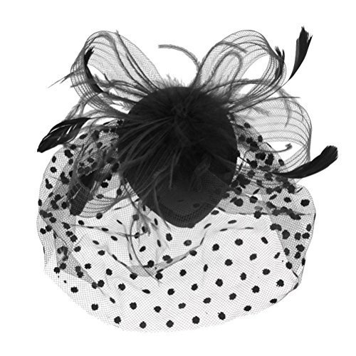 Tinksky Retro Style Bird Cage Mesh Bridal Face Veil Feather Fascinator Hair Clip Wedding Valentine's Day Hair Accessory Black OS