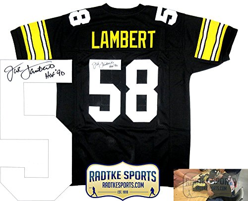 Jack Lambert Autographed/Signed Pittsburgh Steelers Black Throwback Custom Jersey with