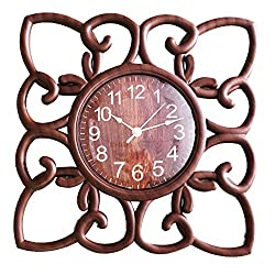 SUN-E 10 Inch Silent Non Ticking Modern Retro Wall Clock Decor Wall Clocks Decorative for Home,Office,Square Classic Perfect Wall Decoration (Dark Wood Grain)