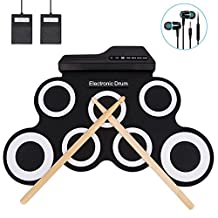 Hippodoctor Electronic Digital Drum Pad Kit Portable Roll Up Drum Musical Practice Instrument with Foot Pedals Drum Sticks for Kids Beginners Children … (Black)