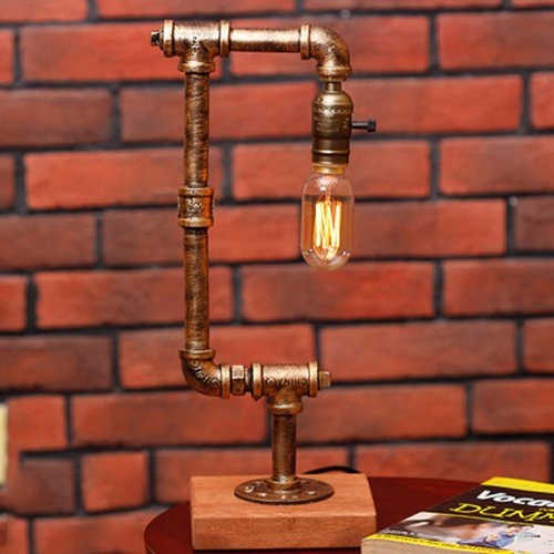 Aiehua Edison-Wasser-Rohr-Tabellen-Leselampe-kreative Dimmer-Eisen-feste hölzerne niedrige Tisch-Licht-Schreibtisch-Lampe Traditions-Dachboden-Industrie-Metallnostalgie-klassische Schreibtisch-Tischle