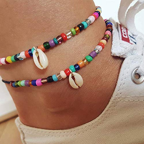 Jovono Boho Bead Anklets Multilyered Shell Anklet Bracelets Beach Foot Jewelry Silver