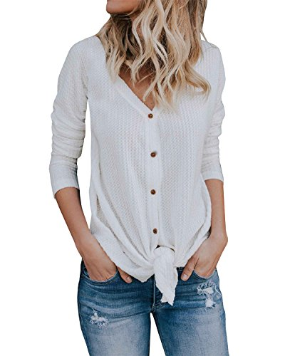 - Womens Loose Fitting Henley Shirts Long Sleeve Button Down V Neck High Low Batwing Tops
