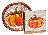 Watercolor Pumpkin Lunch Plates and Napkins for 18