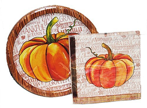 (Watercolor Pumpkin Lunch Plates and Napkins for)