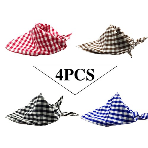 Cut Scarf - FUNPET 4 PCS Dog Bandana Triangle Bibs Checked Scarfs Soft Accessories for Medium and Large Pet Dogs and Puppies