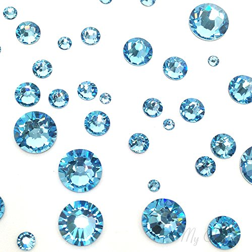 (AQUAMARINE (202) lake blue 144 pcs Swarovski 2058/2088 Crystal Flatbacks lake blue rhinestones nail art mixed with Sizes ss5, ss7, ss9, ss12, ss16, ss20, ss30)