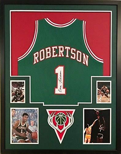 48e15d7e3 Oscar Robertson Autographed Signed Milwaukee Bucks Jersey Deluxe Framed  Display - JSA Certified