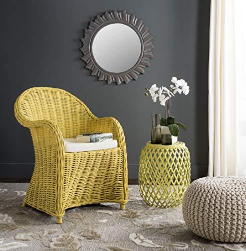 Safavieh Home Collection Callista Yellow Wicker Club Chair, Standard