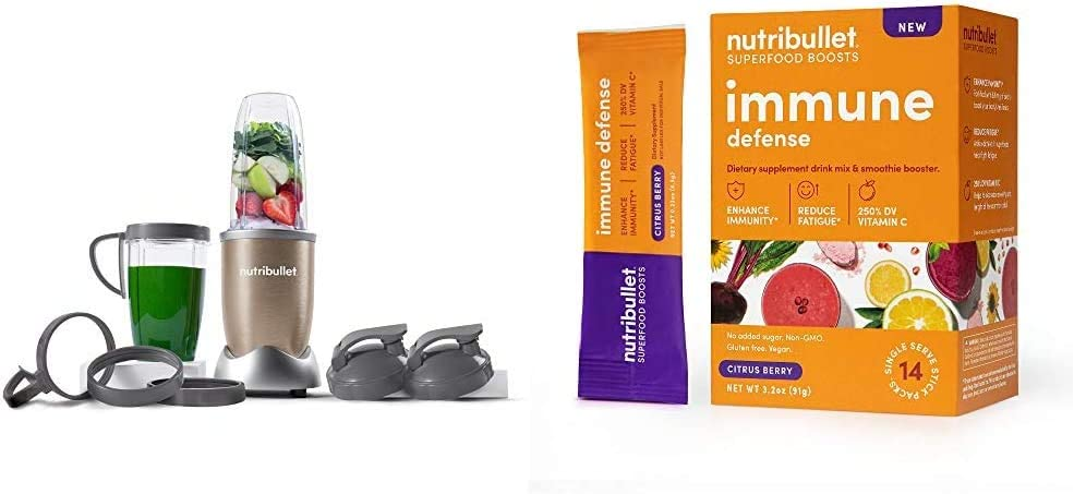 NutriBullet Pro - 13-Piece High-Speed Blender/Mixer System with SuperFood Immune Defense Boosts - 14 Single Serve Packs
