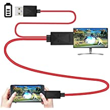 Rumfo 6.5 Feet MHL Micro USB to HDMI Adapter Converter Cable 1080P HDTV for Android Devices Samsung Galaxy S3 S4 S5 Note 3 Note 2 Note 8 Note Pro Galaxy Tab 3 (11 Pin, Red)