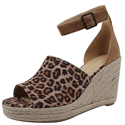 COSIDRAM Women Sandals Ladies Beach Shoes Casual Wedge Heels Peep Toe Summer Fashion Rome Style Platform Shoes for Female Black Brown Leopard Plus Size