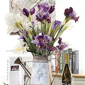 Auxsoul 1 Branches 3 Flower Heads Artificial Flowers & Plants Iris/fleur-de-lis Home Gorden Vase Decor 2 SETS 33