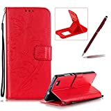 Strap Case for Huawei P8 Lite,Wallet Leather Cover for Huawei P8 Lite,Herzzer Classic Elegant [Red Butterfly Pattern] PU Leather Fold Stand Card Holders Smart Phone Case for Huawei P8 Lite + 1 x Free Red Cellphone Kickstand + 1 x Free Claret-Red Stylus Pen