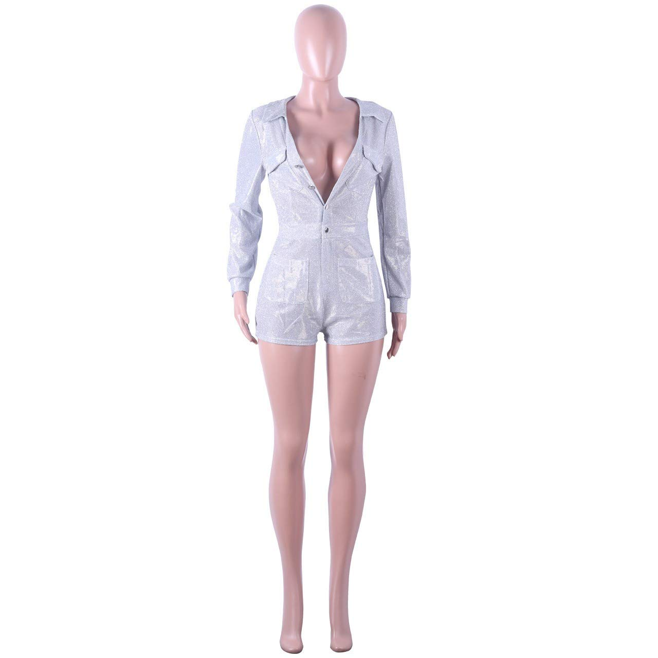 Doufine-women clothes Womens Cargo Shorts Long Sleeves Sequin V Neck Jumpuits and Rompers