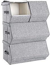 SONGMICS Pudełko do przechowywania z pokrywą, zestaw 4, organizer na zabawki, metalowa rama, magnetyczne zamknięcie, na ubrania, zabawki i książki, szary RLB22GY