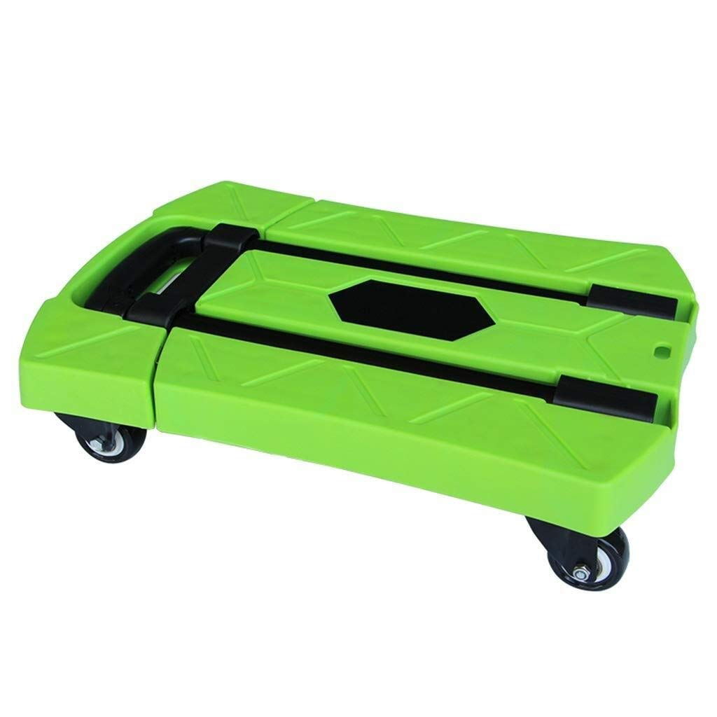 LXJYMX Compact Platform Truck Trolley Five-Wheeled Silent Trailer Household Foldable Mini Portable Truck Multi-Color Optional Large-Capacity Platform Truck (Color : Green)