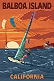 Balboa Island, California - Windsurfer and Sunset (9x12 Art Print, Wall Decor Travel Poster)