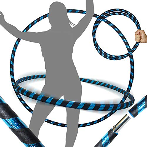 PRO Hula Hoops (Ultra-Grip/Glitter Deco) Weighted Travel Hula Hoop (100cm/39′) Hula Hoops for Exercise, Dance & Fitness! (640g) NO Instructions Needed – Same Day Dispatch! (Black/Blue Glitter)
