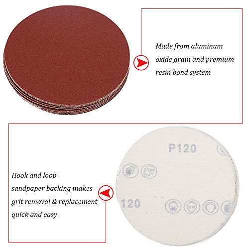 HIFROM 5 Inch Sanding Discs NO-Hole Hook and Loop 40 Grit Sandpaper Aluminum Oxide Random Orbital Sander Pads (60-Pack) by HIFROM (Image #1)