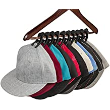 Caiman Hat Clips: The Cap Storage System that Organizes Your Closet and Protects Your Hats Better than a Hat Rack Using Clips with a Safe, Unique Grip (10 pack) (Black)