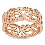 CloseoutWarehouse Clear Cubic Zirconia Filigree Branches Ring Rose Gold-Tone Plated Sterling Silver Size 10