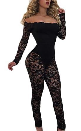 75cd5b5b1c65 ainr Women Off Shoulder Long Sleeve Lace Sheer Bodycon Jumpsuit Black X-S