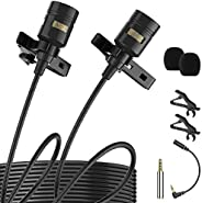 """Premium 196"""" Dual-head Lavalier Microphone, Professional Lapel Clip-on Omnidirectional Condenser Mic for"""