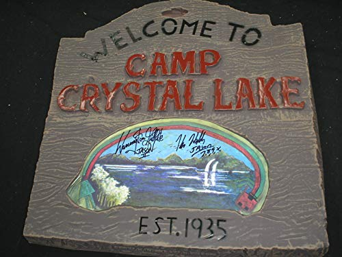 KANE HODDER & WARRINGTON GILLETTE 2X Signed Crystal Lake Sign Jason Voorhees Friday the 13th