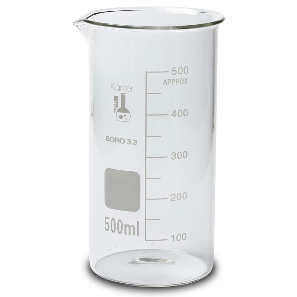500ml Beaker, Tall Form Berzelius, Borosilicate 3.3 Glass, Graduated, Karter Sientific 213F9 (Pack of 6)
