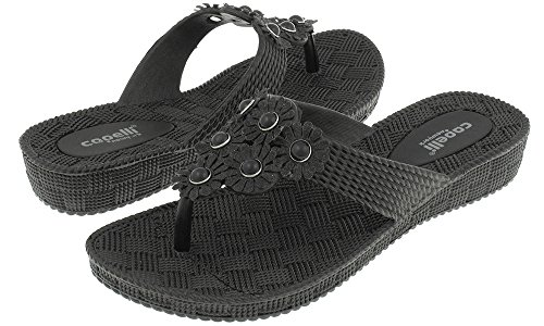 Capelli New York Woven Textured Injected Hooded Thong with Glitter Faux Leather Flowers Ladies Flip Flop Black 8