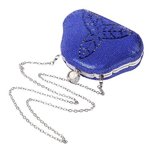 Red Womens Evening Clover Damara Style Fully Rhinestones Crystal Bag 8xxY7fd