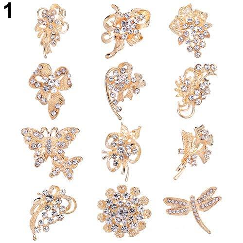 Holrea 12Pcs Rhinestone Crystal Flower Brooches Pins Set DIY Wedding Bouquet Broaches Kit Rhinestone Hollow Flower Butterfly Bridal Scarf Lapel Brooch Pins for Women Girls Golden