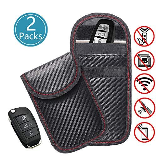 2 X Car Key Signal Blocker Pouch Faraday Bag, LEOKE Keyless Entry Fob Guard Signal Blocking Pouch Bag, Antitheft Lock Devices, Car Key Protector WIFI/GSM/LTE/NFC/RF Blocker