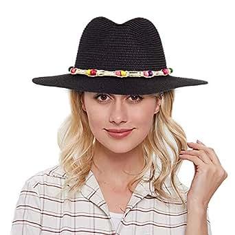 Women Fedora Straw Hat Wide Brim Panama Floppy Straw Hat Roll up Beach Sun Hat UPF50+ - Black - F
